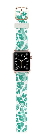 Casetify Apple Watch Band (38mm) Casetify Band - Tropical Exotic Leaves Pattern White by Organic Saturation #Casetify