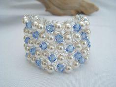Pale blue, ivory  silver beaded knitted bracelet, summer, wedding £11.50