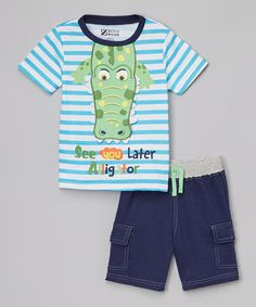 Loving this Blue & White 'See You Later Alligator' Tee & Shorts - Toddler on #zulily! #zulilyfinds