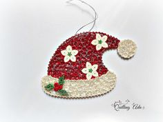 Christmas ornament-quilled Santa hat-ornament by PaperArtbyAda