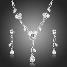 AZORA Luxury Clear Cubic Zirconia Tear Drop Earrings and Pendant Necklace Jewelry Sets Prom Jewelry, Cute Jewelry, Jewelry Sets, Jewelry Accessories, Fashion Accessories, Jewelry Necklaces, Women Jewelry, Fashion Jewelry, Fashion Tag