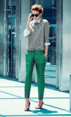 Зеленые клетчатые брюки
