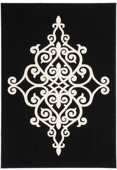 World Menagerie Sir Anthracite Area Rug World Menagerie Sir Anthracite Area Rug Nostalgia Anthracite Area Rug Kayoom Rug size: Rectangular 80 x Stencil Patterns, Stencil Designs, Motifs Islamiques, Stencils, Black And Grey Rugs, Rug World, Gold Rug, Machine Made Rugs, Pink Rug