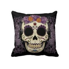 day of the dead cushion sugar skull pillow cover retro rockabilly