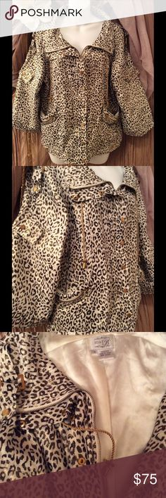 JUST B Cheetah Print Women's Jacket Pictures do not capture how Stunning this jacket truly is! Haha I've had to think twice about putting it up for sale! I Love it and it makes you look fancy. ;) Has tons of Gold embellishments! Fabrics has a gold shimmer. The inside is fully lined in a creamy white silky fabric. 100% lined. Haha if I don't sale this quick I may end up keeping this little beauty. JUST B  Jackets & Coats