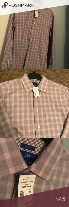 Egara Men's Dress Shirt (Medium) New With Tag! Medium Men's Egara Purple Plaid Dress Shirt. 100% Cotton. Non-Iron. EGARA Shirts Dress Shirts
