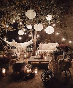 Who else wants to hangout here on a beautiful fall night? Photo by . Outdoor Deck Lighting, Outdoor Patios, Patio Set Up, Budget Home Decorating, Home Decor Furniture, Furniture Shopping, Dream Rooms, Patio Design, Zen Design