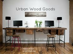 Work table in two sections made of salvaged wood door UrbanWoodGoods, $2295.00