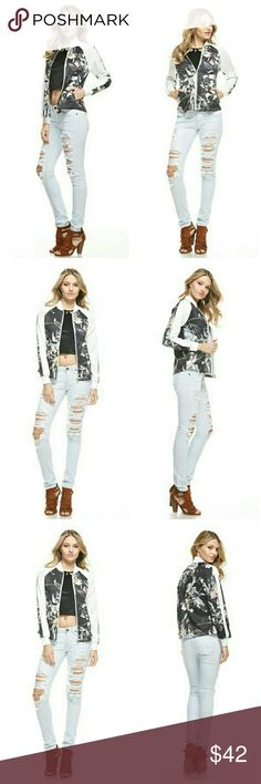 Coming Soon Floral Print Bomber Style Jacket Floral Print jacket with zipper closure and side pockets slits.   95% Polyester 5% Spandex Jackets & Coats