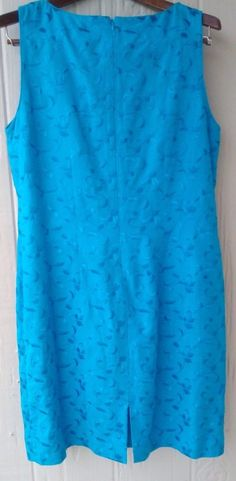 Jessica Howard Sleeveless Dress Embossed Flowers Size 12 Blue Linen Blend EUC…