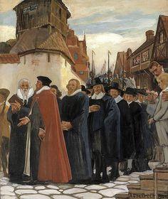 """ALBERT EDELFELT (1854-1905) """"Inauguration of the Academy of Turku in 1640"""", Part3/3 (1902) - """"Turun akatemian vihkiäiset"""" - Professoreita seurasivat hovioikeuden asessorit,linnanpäällikkö ja kruununvouti,rovastit,kirkkoherrat,koulumestarit, Turun pormestarit ja raati,merkittävimmät porvarit ja ylioppilaat,kaikki arvojärjestyksessä.Linnasta ammuttiin tykeillä,aurinko paistoi ja kadut täyttyivät katsojista."""