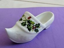 LIMOGES PORCELAIN CLOG SHOE holly leaves and berries transfer