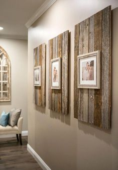 Rustic Home Decor Modern Farmhouse Reclaimed Wood Backdrop for Picture Frames.Rustic Home Decor Modern Farmhouse Reclaimed Wood Backdrop for Picture Frames Decor Room, Living Room Decor, Diy Home Decor, Hallway Decorations, Hallway Wall Decor, Bedroom Decor, Dining Room, Dining Wall Decor Ideas, Homemade Wall Decorations