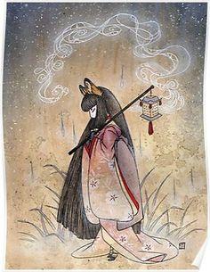 Bad Thoughts - Kitsune Fox Yokai  Poster
