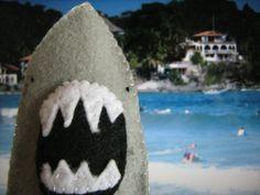 Shark felt finger puppet. ;)