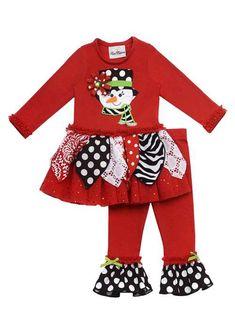 c4da9e471 Girls Christmas Outfit Rare Editions Girls Christmas Outfits : Red Printed Snowman  Girls Legging Set #