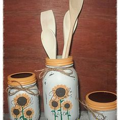 Updates from CrystolsCountryKraft on Etsy Mason Jar Art, Mason Jar Gifts, Mason Jar Candles, Scented Candles, Jar Crafts, Cute Crafts, Sunflower Crafts, Sunflower Kitchen, Jar Design