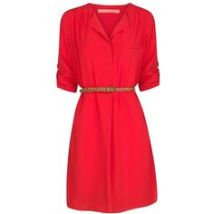Mango V-Neck Dress , Pastel Red ($26) ❤ liked on Polyvore featuring dresses, pastel red, elbow sleeve dress, v-neck dresses, sleeved dresses, v neckline dress and woven belt