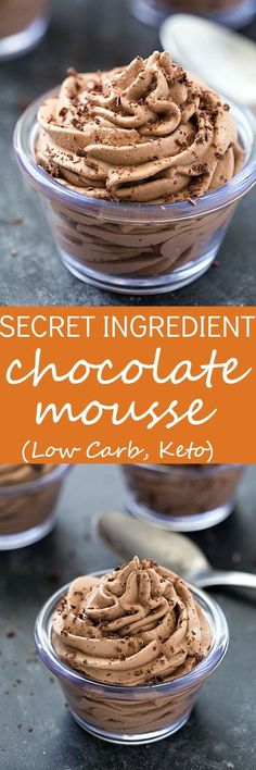 Secret Ingredient Easy Chocolate Mousse Recipe (Low Carb, Keto) - Create your amazing and incredibly easy chocolate mousse! The secret ingredient creates a whipped mousse that's secretly healthy. I bet you will not even be able to guess the secret ingredient! #lowcarbmousse #lowcarbdessert #lowcarbrecipe