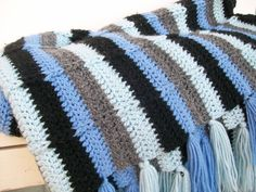 Vintage Afghan Blue Grey Black Crochet Stripe Blanket. $35.00, via Etsy.
