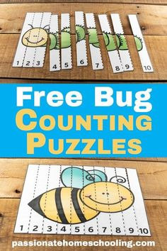 math FREE COUNT TO 10 BUG PUZZLES: These counting to 10 bug puzzles are so cute! My daughter loves to practice her numbers with these fun activities. A perfect way to have fun practicing early math skills. Numeracy Activities, Insect Activities, Preschool Learning Activities, Spring Activities, Toddler Activities, Preschool Activities, Counting Activities, Family Activities, Kids Learning