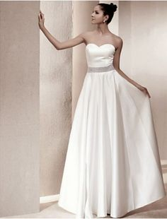 Charming A-line Princess Strapless Floor-length Satin Beach Wedding Dress inspired by Kate Middleton