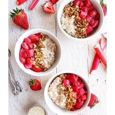 Quinoa Oatmeal Bowls With Strawberry And Rhubarb Compote