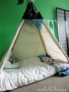Check out this Montessori teepee bed this mom made for her 1 year old.