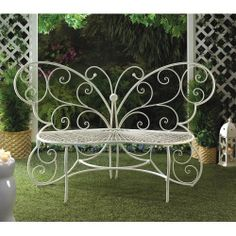 White Butterfly Metal Bench Garden Patio Porch Outdoor Furniture