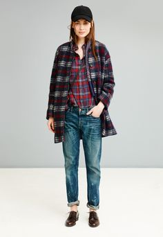 Madewell estate coat worn with flannel boyshirt + Rivet & Thread selvedge boyjean.