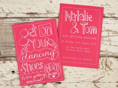 Hand drawn Save the Date card  Get On Your Dancing by PaperFudge