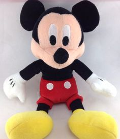 "Disney Mickey Mouse Plush 10"" 25cm Stuffed Animal Toy Store Tag Black Overalls 