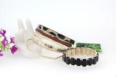 Stylish Leopard All-match Gemstone Multilayer Coffee Bracelets