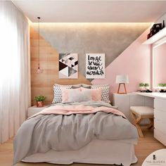 Luxury Small Bedroom Design And designing For Comfortable Sleep some ideas Bedroom Suitedesign Roomdecoratingideas Cute Bedroom Ideas, Cute Room Decor, Girl Bedroom Designs, Teen Room Decor, Home Decor Bedroom, Modern Bedroom, Contemporary Bedroom, Trendy Bedroom, Wall Decor