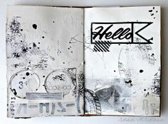 rosa verdosa. art journal. mix media. scrapbook. black and white.