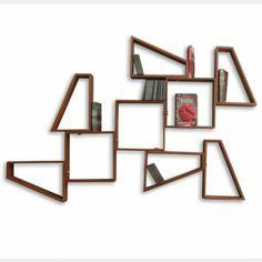 Retro wooden wall shelf set