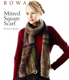 NEW FREE ROWAN PATTERN: Mitered Square Scarf by Nancy Kleiber, in Rowan Kidsilk Haze Stripe