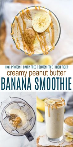 A simple Peanut Butter Banana Smoothie that tastes like a creamy milkshake. This easy banana smoothie filled with peanut butter, flax seed, chia seeds - is dairy free and high in protein. It makes the perfect breakfast on the go or post workout snack. Smoothies Banane, Smoothie Proteine, Banana Protein Smoothie, High Protein Smoothies, Protein Smoothie Recipes, Banana Protein Shakes, Healthy Peanut Butter Smoothie, Dairy Free Smoothie, Protein Milkshake