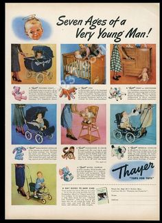 1949 Thayer baby carriage crib stroller hi-chair 7 color photo vintage print ad