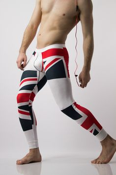 UK Flag Leggings by Glimms. Welcome the winter with function and style. These cotton and spandex blend leggings have a slim fit cut, hugging the body in all the right places. They feature a UK flag print, with solid white banding around the waist and ankles, giving just enough detail to separate them from your basic legging. Guaranteed to keep you warm all winter.  UK Flag Leggings by Glimms  	Model is wearing a size XL 	XL size measurements:  	Waist 32 in (non stretched) 	Inseam 29 ...