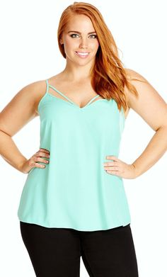 City Chic Strappy Coloured Woven Cami - Women's Plus Size Fashion City Chic - City Chic Your Leading Plus Size Fashion Destination #citychic #citychiconline #newarrivals #plussize #plusfashion