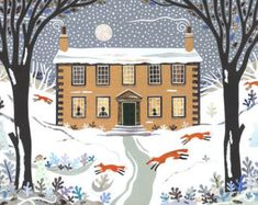Brontë Sisters, Christmas Card, Snow Scene, Holiday Card, Writers Houses, Foxes, Magical, For Booklovers, Haworth Parsonage, Naive, Art
