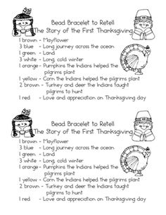 Thanksgiving Bead Bracelet from FerberFirsties on TeachersNotebook.com -  (1 page)  - These are the bead directions for each student to make a bracelet to tell the story of the first Thanksgiving. I use a pipe cleaner for the bracelet and get beads in the colors listed on the sheet.