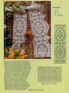 Crochet pattern, table, curtain etc Filet Crochet, Crochet Lace Edging, Crochet Hook Set, Granny Square Crochet Pattern, Crochet Borders, Crochet Trim, Crochet Doilies, Easy Crochet, Crochet Cushion Cover