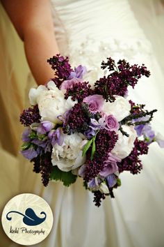 bridal bouquets with purple roses and baby breath | dark purple lilac white peonies light purple sweet peas purple freesia ...