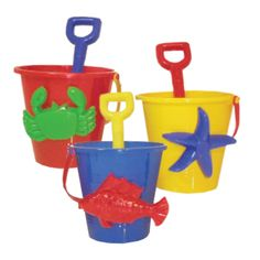 Small Bucket Set in a Net Bag (3 Pieces) Assorted Colours | Peeks