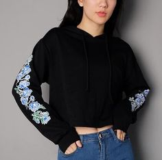 50f53e3bba Rose flower crop tops for women black cropped hoodie with strings