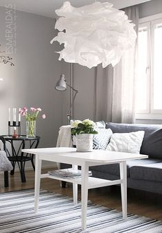 ikea krusning - this is the large version, it comes smaller, more suitable for bedside Uno Lamp Shades, Table Lamp Shades, Krusning Ikea, Ikea Lamp, Home And Living, Living Room, False Ceiling Design, Pendant Lamp, Decoration