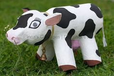 """Say hello to this """"Bessie"""" Papier Mache Cow Craft. You and your children can collect water bottles, toilet paper rolls, and newspaper and make this adorable recycled craft. Papier mache crafts are fun rainy day projects for the whole family. Paper Mache Projects, Paper Mache Crafts, Craft Projects, Kids Crafts, Bible Crafts, Paper Mache Paste, Ag Day, Water Bottle Crafts, Plastic Bottle"""