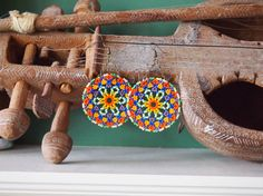 large round seed bead statement earrings in bold and vibrant